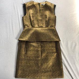 DVF Gold peplum dress with pockets